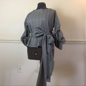 Zara Woman ruch plaid wrap blouse with sash small